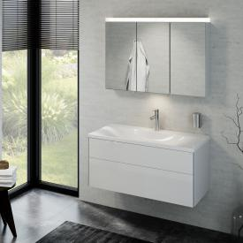 Keuco Royal Reflex Lavabo avec meuble sous-lavabo et miroir à éclairage LED Façade blanc ultra brillant/corps du meuble blanc ultra brillant
