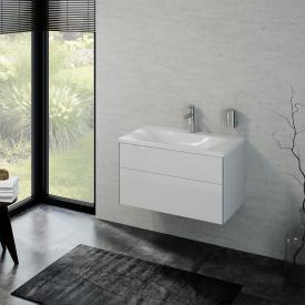 Keuco Royal Reflex Lavabo avec meuble sous-lavabo et 1 tiroir Façade blanc ultra brillant/corps du meuble blanc ultra brillant