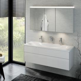 Keuco Royal Reflex Lavabo double avec meuble sous-lavabo et miroir à éclairage LED Façade blanc ultra brillant/corps du meuble blanc ultra brillant