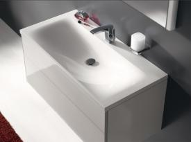 Keuco Royal Reflex mineral cast washbasin with 1 tap hole, with concealed overflow