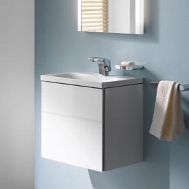 Keuco Royal Reflex vanity unit for hand washbasin with 1 door front white glass / corpus white gloss