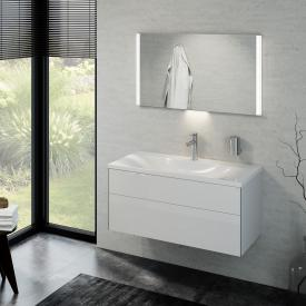 Keuco Royal Reflex washbasin with vanity unit and LED illuminated mirror front white high gloss / corpus white high gloss