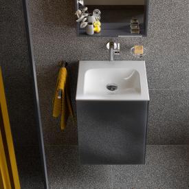 Keuco X-Line hand washbasin vanity unit with 1 door front anthracite / corpus silk matt anthracite