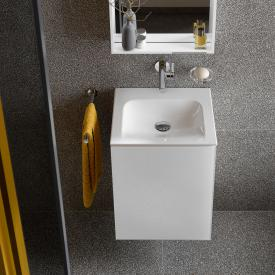 Keuco X-Line hand washbasin vanity unit with 1 door front white / corpus silk matt white
