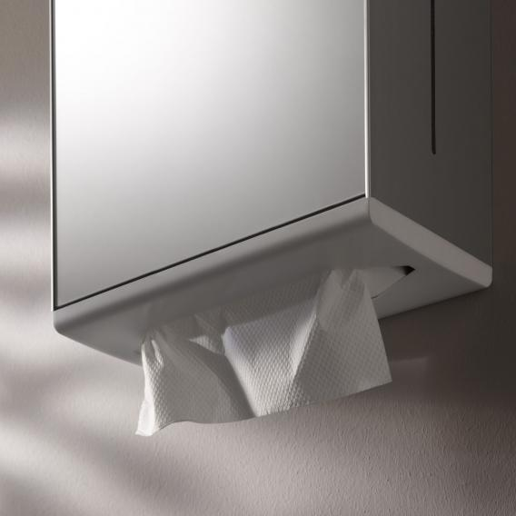 Keuco Moll paper towel dispenser with mirror door, hinged left aluminium silver anodised/white