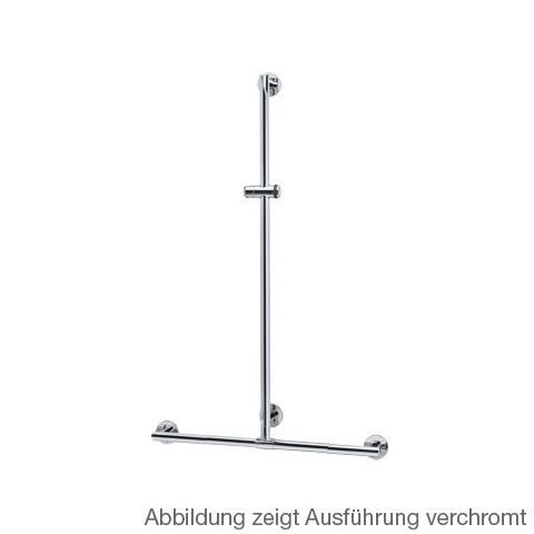Keuco Plan Care shower grab rail with shower rail silver anodised/chrome