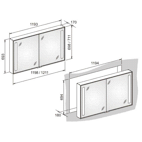 Keuco Royal Integral built-in wall frame for mirror cabinet