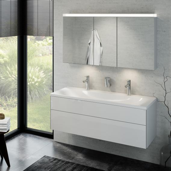 Keuco Royal Reflex double washbasin with vanity unit and LED mirror cabinet front white high gloss / corpus white high gloss
