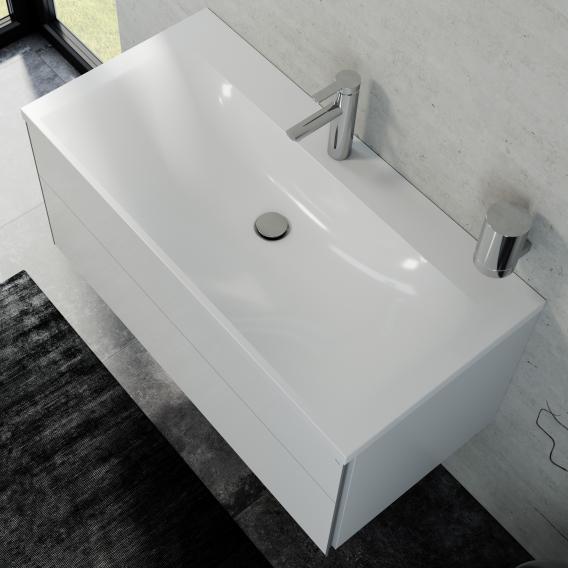 Keuco Royal Reflex washbasin with vanity unit and LED illuminated mirror front white high gloss / corpus white high gloss