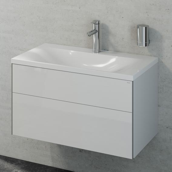 Keuco Royal Reflex washbasin with vanity unit with 1 pull-out compartment front white high gloss / corpus white high gloss