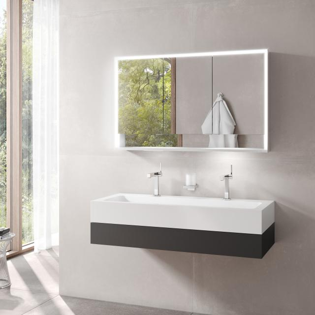 Keuco Edition 300 washbasin with vanity unit and Royal Lumos LED mirror cabinet front anthracite / corpus anthracite