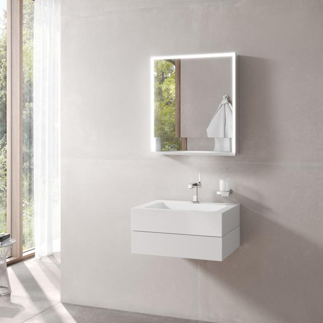 Keuco Edition 300 washbasin with vanity unit and Royal Lumos LED mirror cabinet front white / corpus white