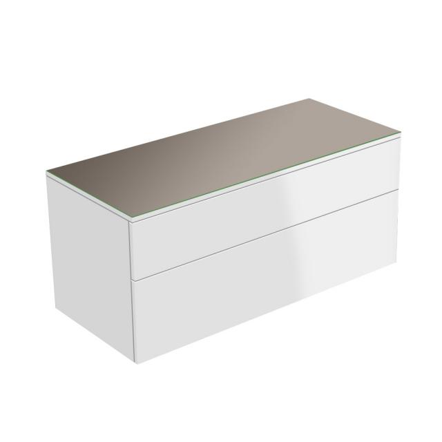 Keuco Edition 400 sideboard with 1 glass top and 2 pull-out compartments front/corpus white high gloss, glass top  truffle gloss