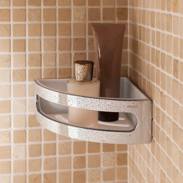 Keuco Elegance corner shower basket chrome/white