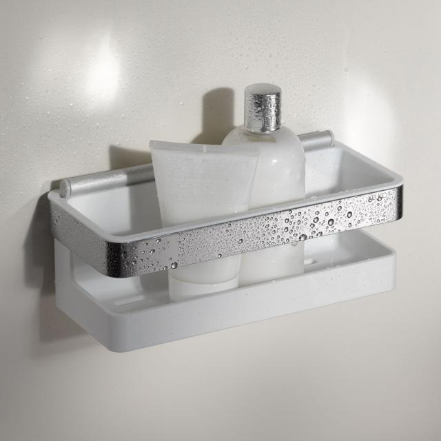 Keuco Moll shower basket with integrated squeegee chrome/white