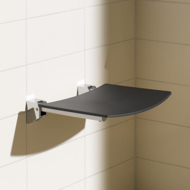 Keuco Plan foldable seat chrome/black grey