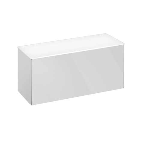 Keuco Royal Reflex sideboard with 1 pull-out compartment front glass white / corpus white