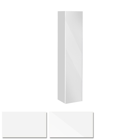 Keuco Royal Reflex tall unit with 1 door front white glass / corpus white gloss