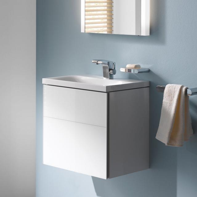 Keuco Royal Reflex vanity unit for hand washbasin with 1 door front white glass / corpus white gloss
