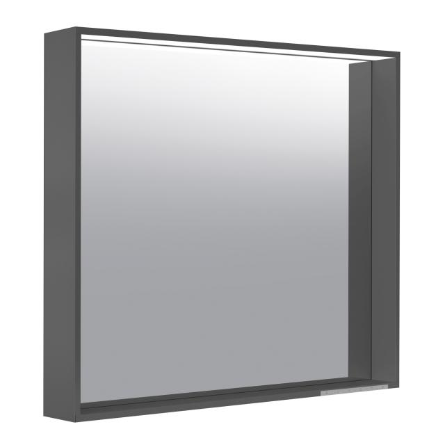 Keuco X-Line mirror with LED lighting silk matt anthracite, adjustable colour temperature, with mirror heating