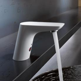 Kludi BALANCE E electronic basin fitting, with temperature control battery operated, white/chrome