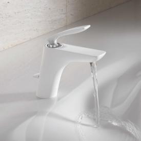 Kludi BALANCE single lever basin mixer with pop-up waste set, chrome/white