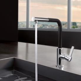 Kludi L-LINE S kitchen fitting with swivel, pull-out spout chrome/matt black