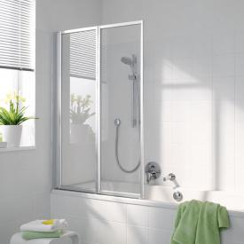 Koralle Avant 2 piece bi-fold bath screen TSG transparent incl. GlasPlus / matt silver