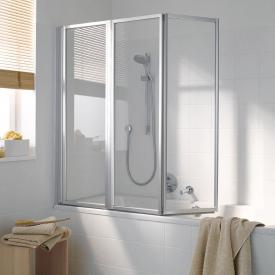 Koralle Avant 3 piece folding bath screen Polyrit aquaperl transparent / matt silver