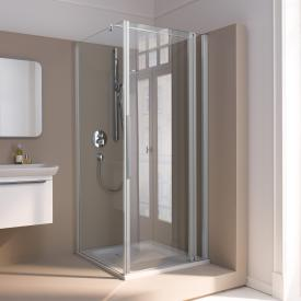 Koralle myDay swing door with fixed element for partition TPFA TSG transparent incl. GlasPlus / matt silver