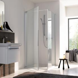 Koralle myDay partition for swing door WT TSG transparent incl. GlasPlus / matt silver