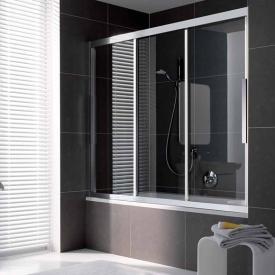 Koralle myDay Porte de douche coulissante en 3 parties verre trempé transparent avec GlasPlus/argenté mat