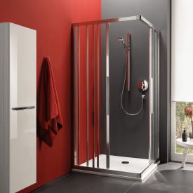 Koralle myDay sliding door corner entry 3 piece with fixed element ESF3 TSG transparent incl. GlasPlus / polished silver