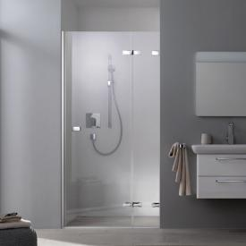 Koralle S505Plus wing door with fixed element corner entry TSG transparent incl. GlasPlus / chrome