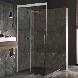 Koralle S600Plus sliding door corner entry 2 piece TSG transparent / silver high gloss/high gloss