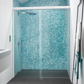Koralle S600Plus sliding door in recess 2 piece TSG transparent / silver high gloss/bianco