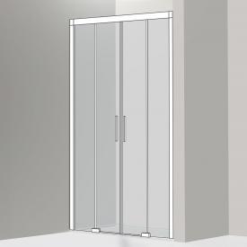 Koralle S600Plus sliding door in recess 4 piece TSG transparent / silver high gloss/bianco