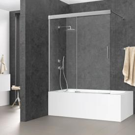 Koralle S600Plus sliding door on bath, 2 piece TSG transparent / silver high gloss/high gloss