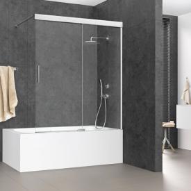 Koralle S600Plus sliding door on bath, 2 piece TSG transparent / silver high gloss/bianco
