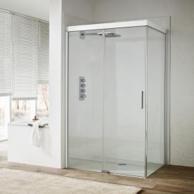 Koralle S600Plus sliding door with partition on entry side 2 piece TSG transparent incl. GlasPlus / silver high gloss/bianco