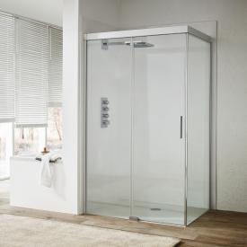 Koralle S600Plus sliding door with partition on entry side 2 piece TSG transparent incl. GlasPlus / silver high gloss/high gloss