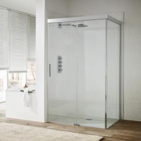 Koralle S600Plus sliding door with partition on fixed element 2 piece TSG transparent incl. GlasPlus / silver high gloss/high gloss