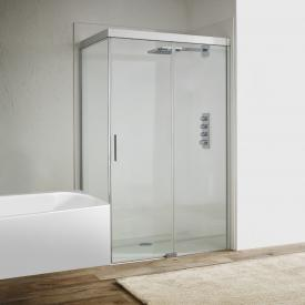Koralle S600Plus sliding door with short partition on entry side 2 piece TSG transparent / silver high gloss/high gloss
