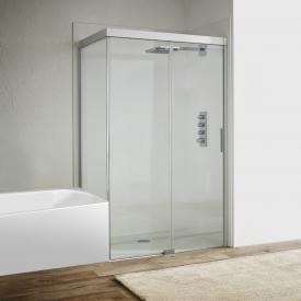 Koralle S600Plus sliding door with short partition on fixed element 2 piece TSG transparent / silver high gloss/high gloss