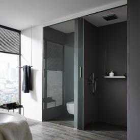 Koralle S606Plus sliding door on wall partition, 1 piece TSG transparent / silver high gloss/high gloss