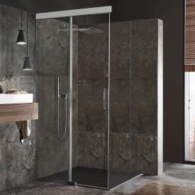 Koralle S606Plus sliding door corner entry 2 piece TSG transparent/silver high gloss/high gloss
