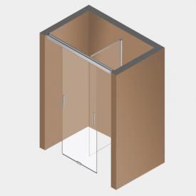 Koralle S606Plus sliding door on partition, 1 piece TSG transparent / silver high gloss/high gloss