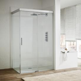 Koralle S606Plus sliding door with partition on entry side 2 piece TSG transparent/silver high gloss/high gloss