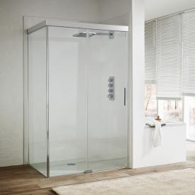 Koralle S606Plus sliding door with partition on fixed element 2 piece TSG transparent/silver high gloss/high gloss