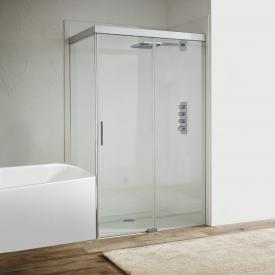 Koralle S606Plus sliding door with short partition on entry side 2 piece TSG transparent/silver high gloss/high gloss
